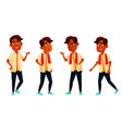 indian boy poses set high school child vector image vector image
