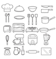Kitchen Equipment Outline Icons Set vector image vector image