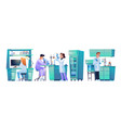 laboratory assistants at workplaces scientist set vector image vector image