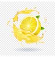 lemon fruit juice splash realistic vector image vector image