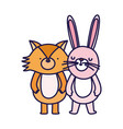 little fox and rabbit cartoon character on white vector image vector image