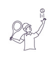 man tennis playing with racket and cap sport vector image vector image