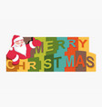 merry christmas text with a silhouette of santa vector image