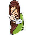 mother with baby cartoon vector image