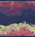 ocean waves purple and yellow vector image vector image