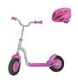 pink roller scooter and helmet for children vector image vector image