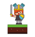 pixel character knight video game vector image vector image