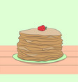 plate with pancakes stands on a table vector image