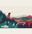 quality flat design on person standing on cliff vector image vector image