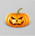 realistic pumpkin head jack lantern icon closeup vector image vector image