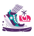 running poster cartoon flat vector image