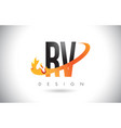 rv r v letter logo with fire flames design and vector image