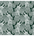 seamless pattern with stylized old deciduous trees vector image