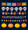 set of dia de los muertos mexican day of the dead vector image vector image