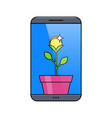 smartphone with money plant in pot vector image vector image