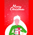 smiling woman holding wrapped gift box merry vector image
