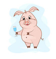 sweet pig with a glass of champagne vector image vector image