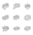 trendy phrase icons set outline style vector image vector image