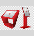 two red promotional interactive information kiosk vector image vector image