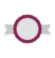 White and purple Sale Emblem on Ribbon vector image vector image