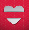 white paper heart on red pattern background vector image