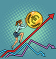 woman businesswoman roll a euro coin up vector image vector image