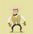Fun cartoon cowboy in hat stands at ready to start vector image