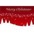 Red Christmas postcard with trees vector image