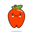 apple fruit cartoon character icon kawaii flat vector image