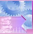arrows left right gears teamwork background blue vector image