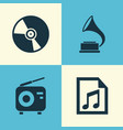 audio icons set collection of phonograph file vector image vector image