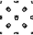 backpack pattern seamless black vector image vector image