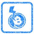 bitcoin crash lightning framed stamp vector image vector image