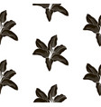 black shape seamless pattern with drawn lilies vector image