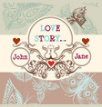 card with butterflies and swirls in vintage style vector image vector image