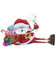 cartoon santa claus is sitting with a bag of gifts vector image vector image