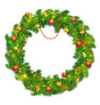 christmas wreath with balls beads stars vector image