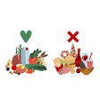 comparison healthy food and fast food vector image vector image