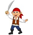 Cute pirate kid cartoon vector image