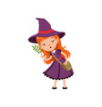 cute small red-haired girl witch in purple dress vector image vector image