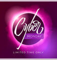 cyber monday discount banner lettering with vector image