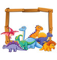 different dinosaur on wooden frame vector image vector image