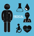 doctor with medical healthcare icons vector image