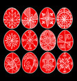 easter eggs red paschal eggs decorated with vector image vector image