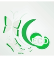 Eco concept - green butterfly vector image