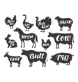farm animals set icons collection of vector image