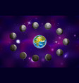 full cycle bright moon with earth on deep space vector image