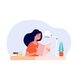 girl diary woman write journal student studying vector image vector image