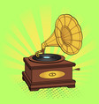 gramophone comic book pop art retro style vector image