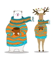 Hand drawn polar bear with deer wearing scarf vector image vector image